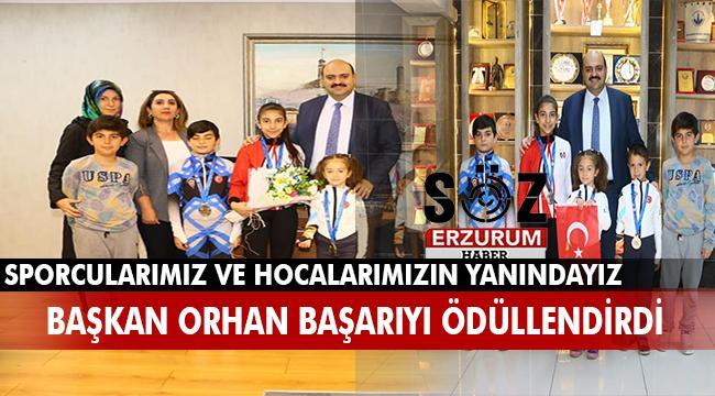İzcilik Spor Kulübü yöneticileri ve sporcuları Başkan Orhan'ı ziyaret etti