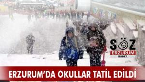 Erzurum'da Okullar Yarın Tatil Edildi