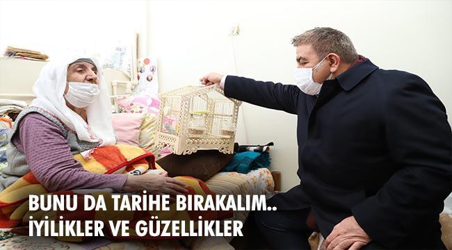 Başkan Sunar, kedisinden ayrı düşen Sevgi Anaya muhabbet kuşu hediye etti