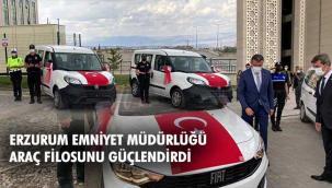 Erzurum İl Emniyet Müdürlüğü araç filosuna 15 yeni araç daha kattı